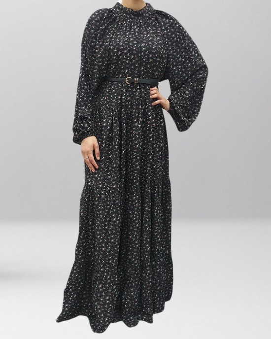 BLACK FLORAL TIERED DRESS - Long Sleeve Maxi Dresses - DRESS2025