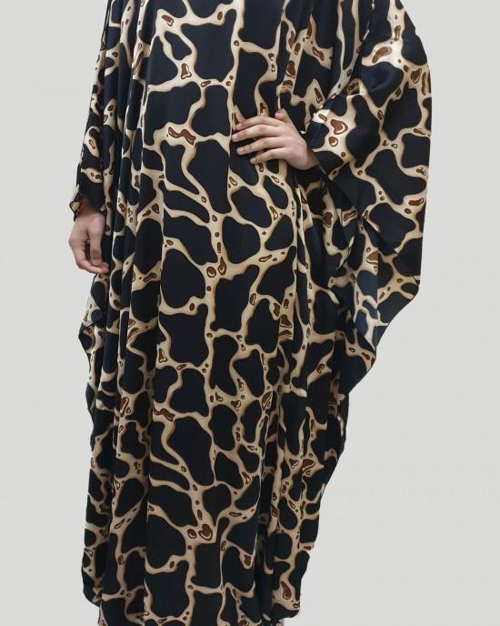 Tara Silk Satin Black Kaftan Maxi Dress - New Arrivals - Tara001