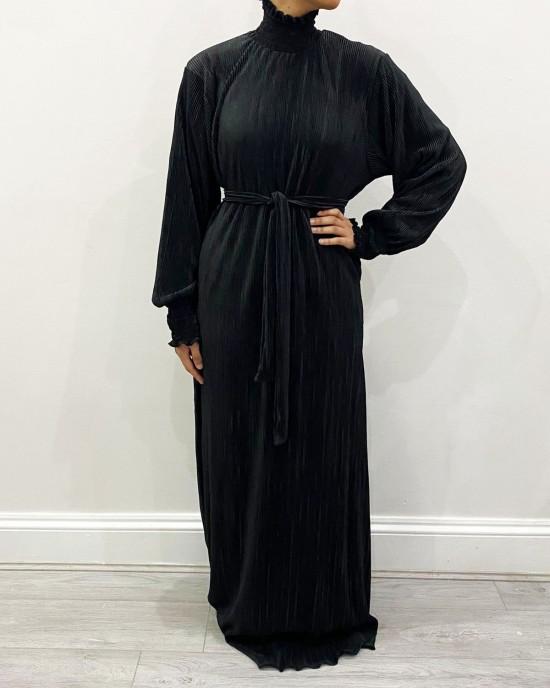Satin Pleated Turtleneck Long Dress - Black