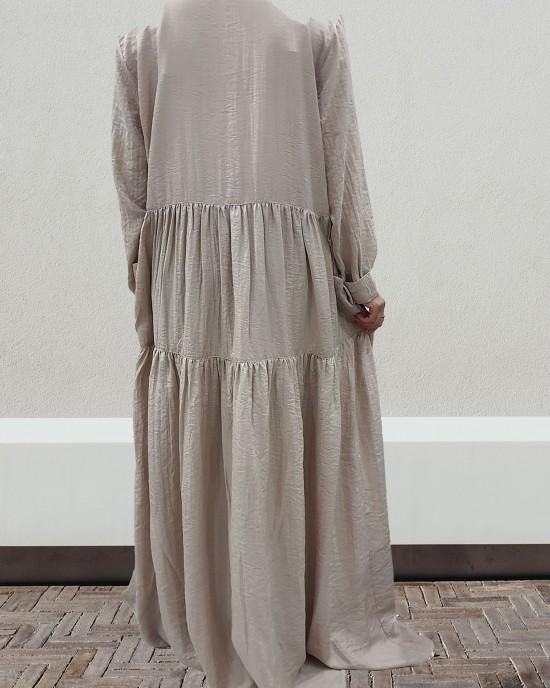 Taupe shirt dress - Long Sleeve Maxi Dresses - DRESS2024