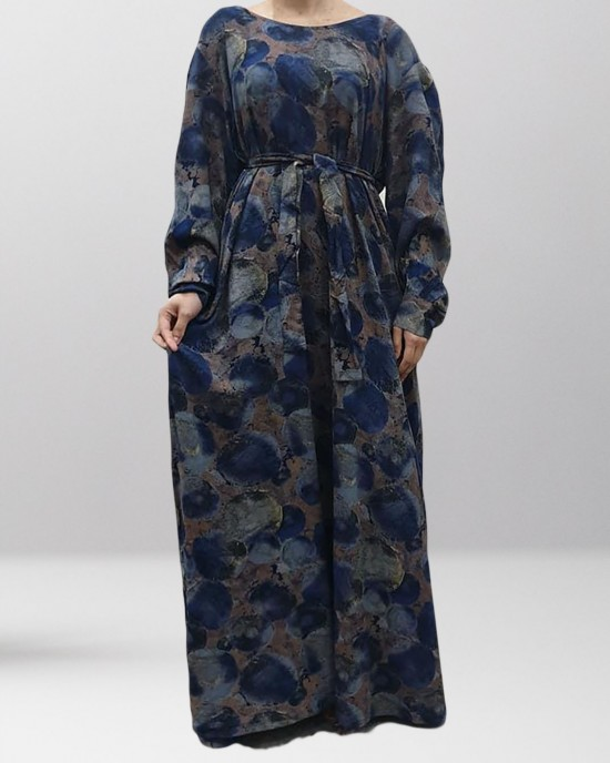 Soft Printed Cotton Navy-Tones Long Sleeve Pocket Maxi Dress - Long Sleeve Maxi Dresses - DRESS006