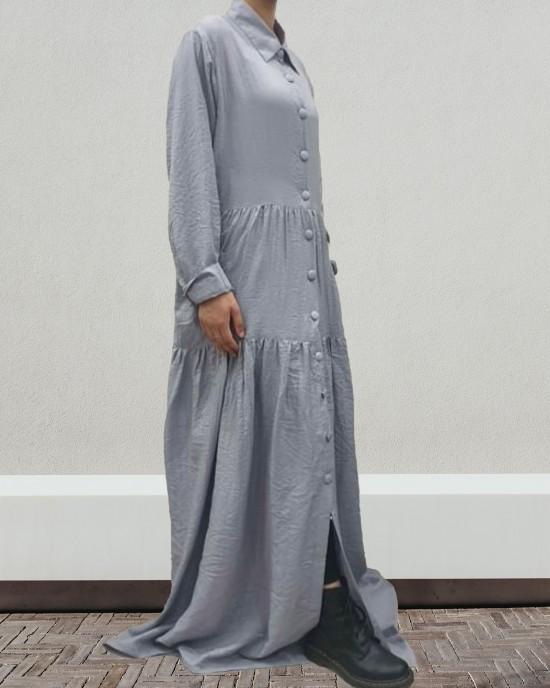 silver grey shirt dress - Long Sleeve Maxi Dresses - DRESS2023
