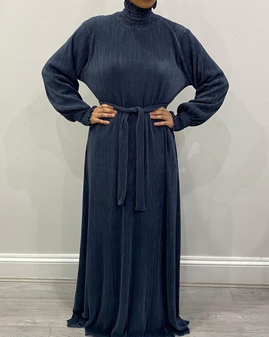 Satin Pleated Turtleneck Long Dress - Slate Grey
