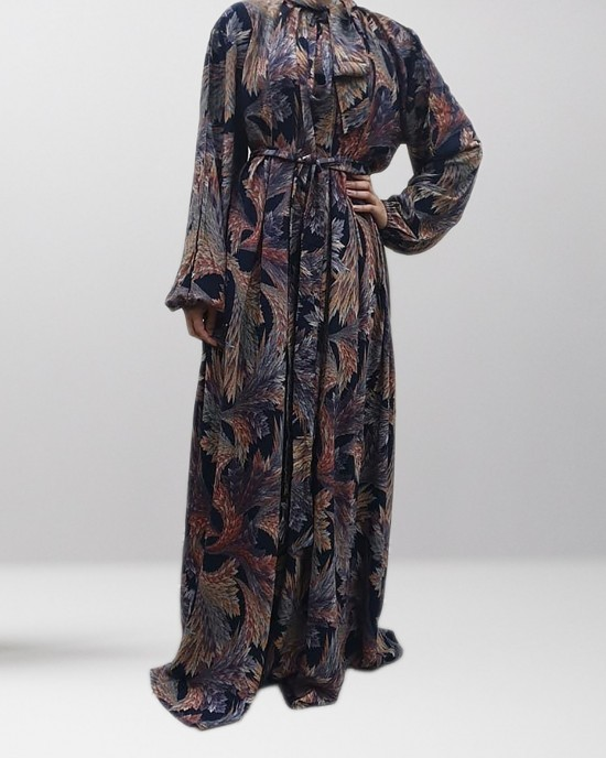 Elasticated Long Sleeves Casual Floral Bow Tie Maxi Dress - Long Sleeve Maxi Dresses - BT002
