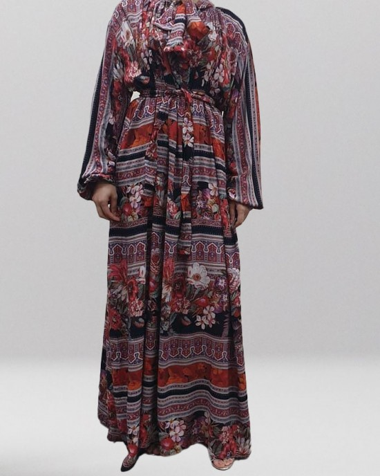 Soft printed cotton bow tie red maxi dress - Long Sleeve Maxi Dresses - DRESS003