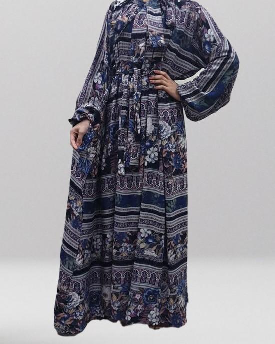 Soft Printed Cotton Bow Tie Blue Maxi Dress - Long Sleeve Maxi Dresses - DRESS005