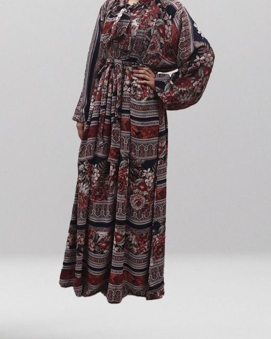 Soft Printed Cotton Bow Tie Brown Maxi Dress - Long Sleeve Maxi Dresses - DRESS004