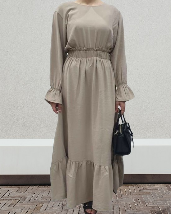 Mink Long Sleeve Maxi Dress With Elasticated Waist - Long Sleeve Maxi Dresses - DRESS2020