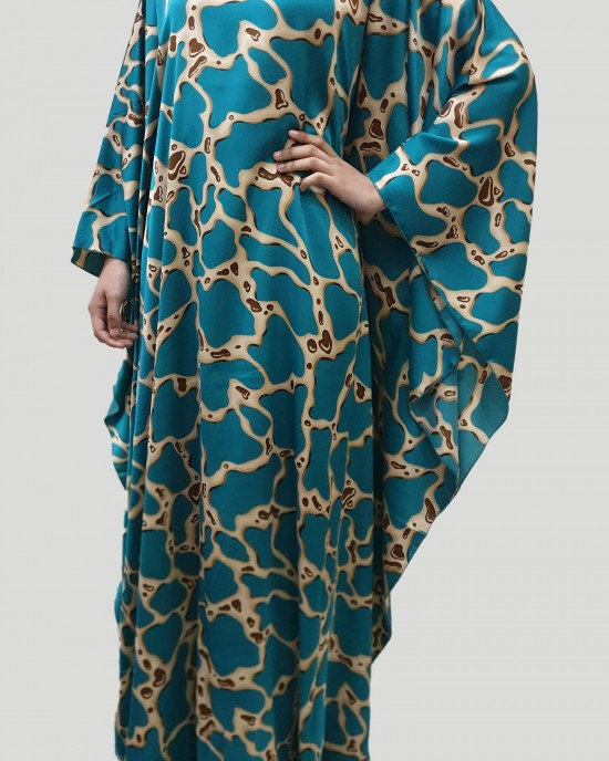 Tara silk satin turquoise kaftan maxi dress - New Arrivals - tara004