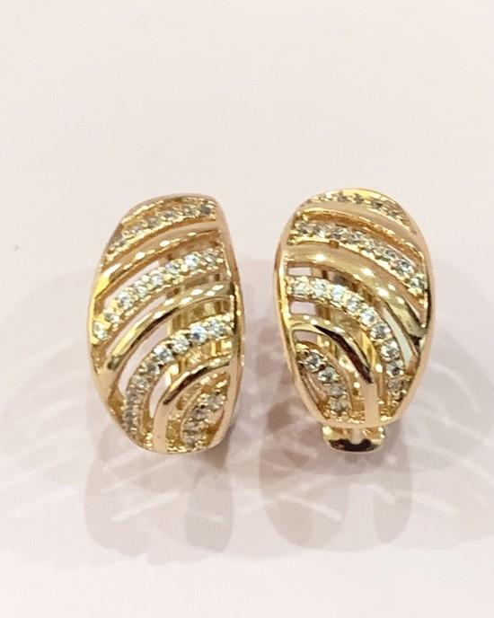 Diamante Huggie Earrings - Gold Plated