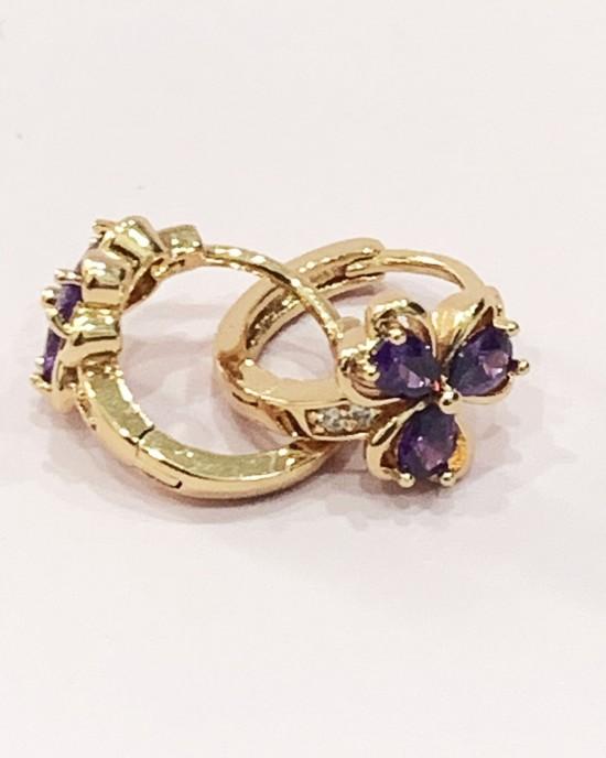 Purple Crystal Hearts Hoop Earrings - Gold Plated