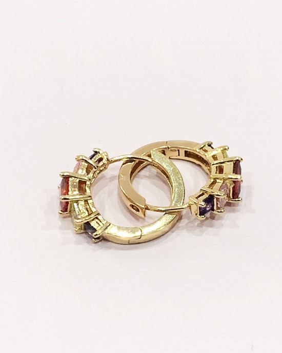 Gold Four-Tone Diamante Hoop Earrings - Gold Plated