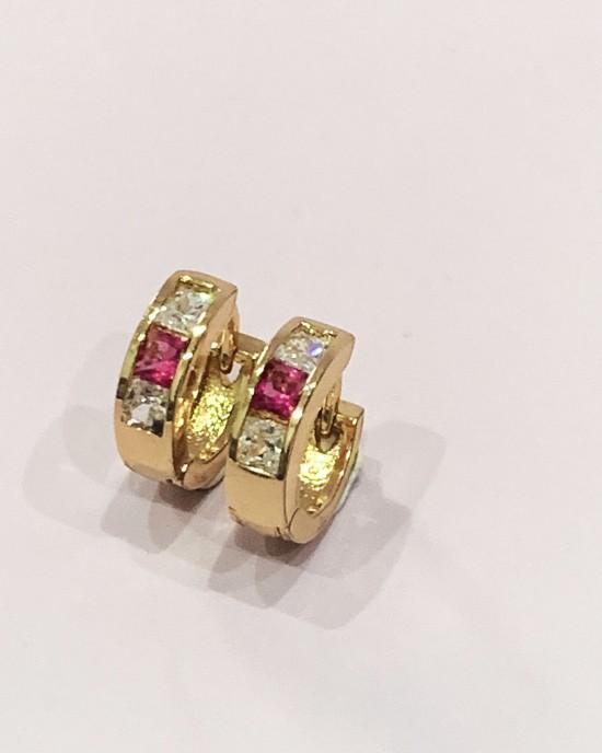 Pink and White Diamante Huggie Earrings