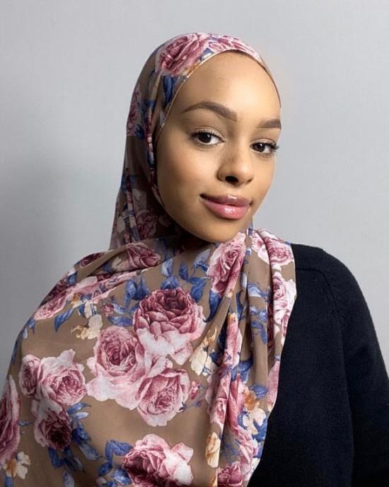 Rose Floral Print Chiffon Hijab