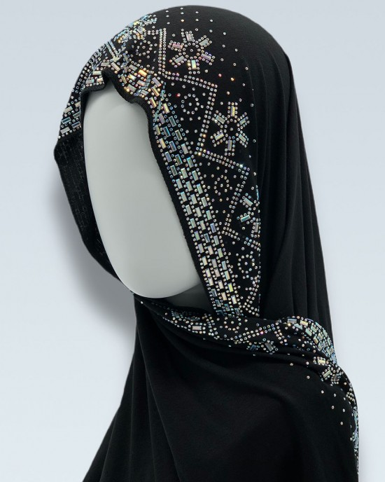 Rhinestone Snowflakes Border Hijab