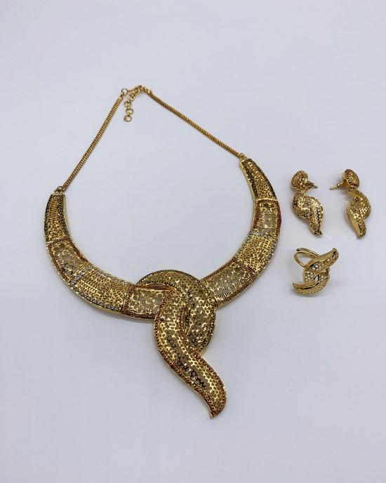 Badra - Multi-Tone 22K Dubai Jewellery Set - Jewellery sets - STYLE 204