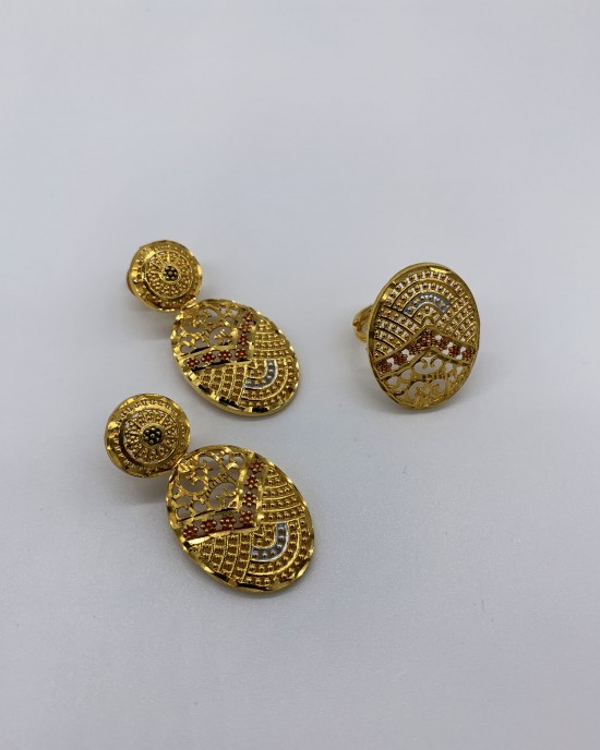 Madiha - 22K Gold Plated Dubai Jewellery Set - Jewellery sets - STYLE 203