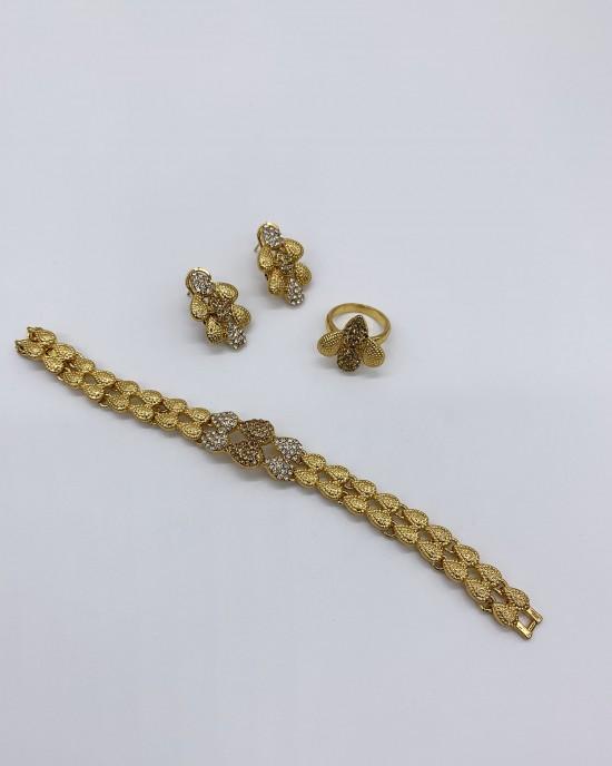 Riya - Two-Tone Dubai Jewellery Set - Jewellery sets - STYLE 202
