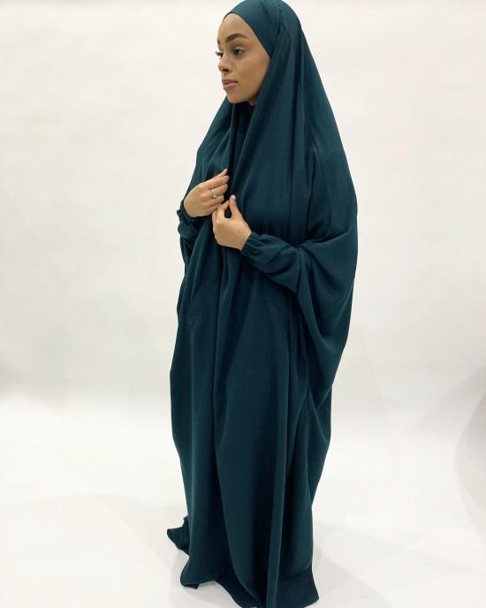 Amani's One-Piece Teal Overhead  Jilbab / Burka with Pockets