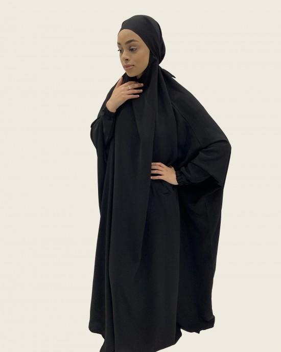 Amani's One-Piece Black Overhead  Jilbab / Burka with Pockets