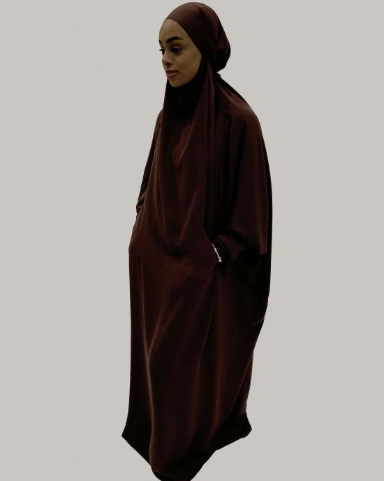 Amani's One-Piece Umber Brown Overhead  Jilbab / Burka with Pockets