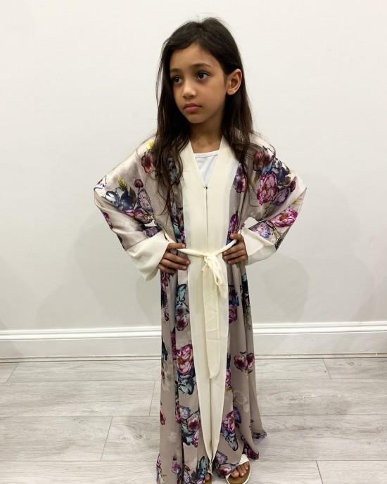 Satin Floral Kids Open Abaya - Childrens Abayas - KD005