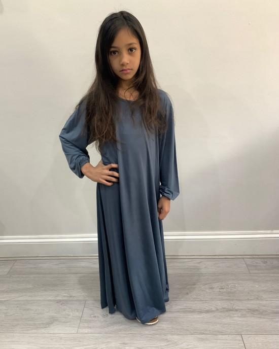 Plain Jersey Colour Abaya - Pigeon Blue