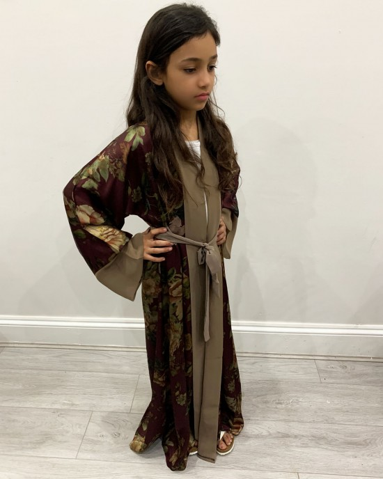 Satin Floral Plum Kids Open Abaya UK - Childrens Abayas - KD004