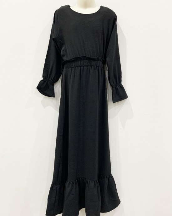 Haya kids black maxi dress with elasticated waist - Childrens Dresses - DRESS2028