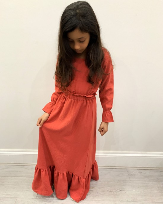 Haya Coral Kids Long Sleeve Maxi Dress - Childrens Dresses - DRESS2027
