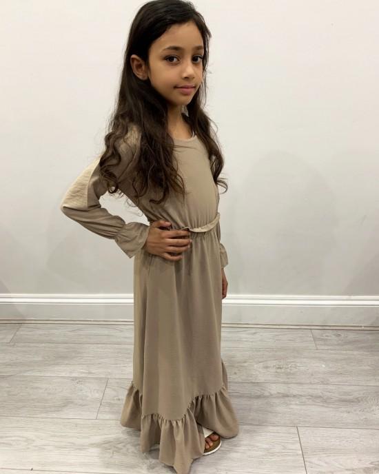 Haya Sand Kids Long Sleeve Maxi Dress Style UK - Childrens Dresses - DRESS2026