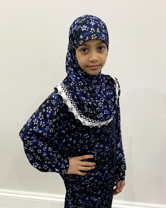Navy Floral Kids Prayer Dress - Childrens Prayer Dresses - AME047
