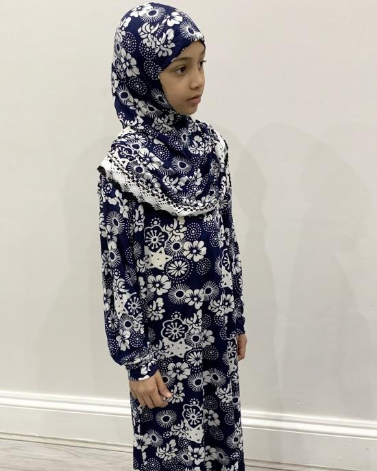 Navy Print Kids Prayer Dress - Childrens Prayer Dresses - AME042