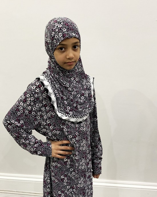 Purple And White Daisies Kids Prayer Dress - Childrens Prayer Dresses - AME046