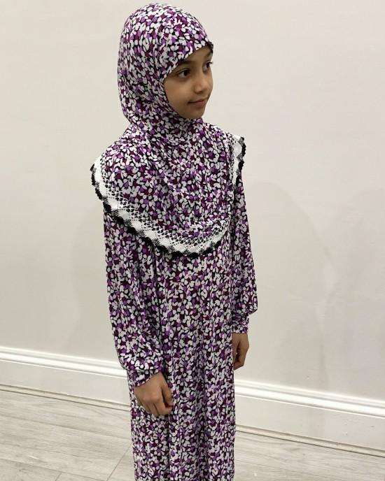 Purple Flowers Kids Prayer Dress - Childrens Prayer Dresses - AME040