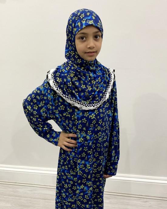 Yellow Floral Kids Prayer Dress - Childrens Prayer Dresses - AME043