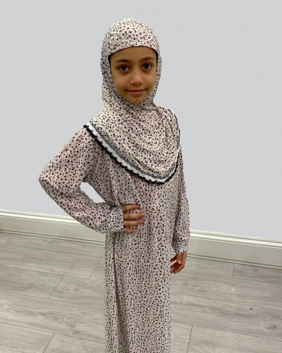 Black Floral Kids Prayer Dress - Childrens Prayer Dresses - AME022