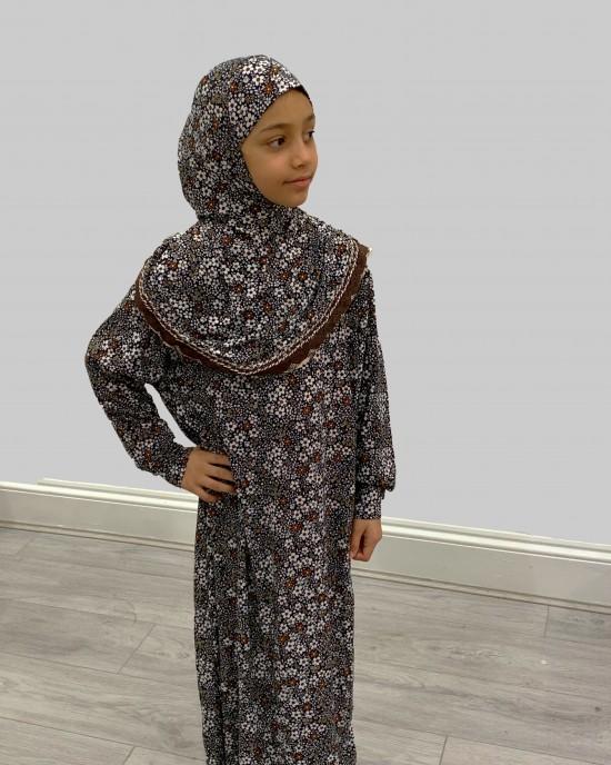 Brown Daisies Kids Prayer Dress - Childrens Prayer Dresses - AME006