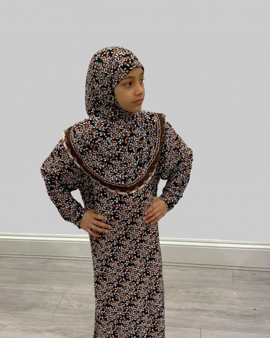 Brown Floral Print Kids Prayer Dress - Childrens Prayer Dresses - AME003