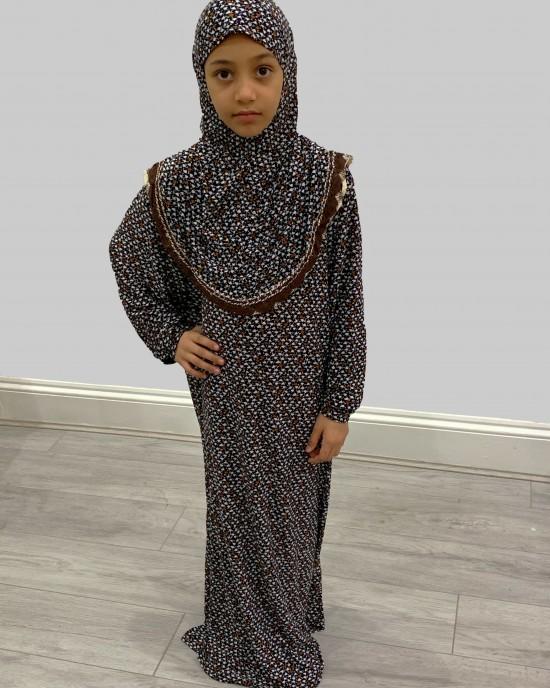 Brown and White Kids Prayer Dress - Childrens Prayer Dresses - AME008