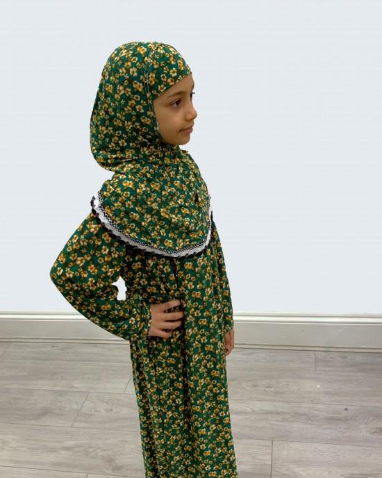 Green And Brown Kids Prayer Dress - Childrens Prayer Dresses - AME002