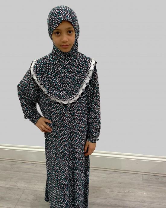 Green And White Print Kids Prayer Dress - Childrens Prayer Dresses - AME004