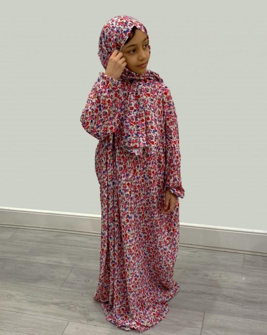 Pink Floral Cotton Prayer Dress