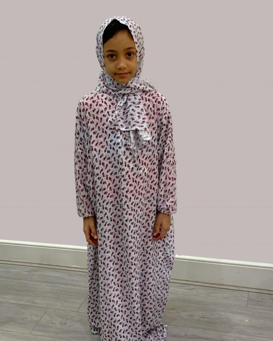 Pink Tulips Cotton Prayer Dress - Childrens Prayer Dresses - AME025