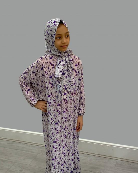 Purple floral Cotton Prayer Dress