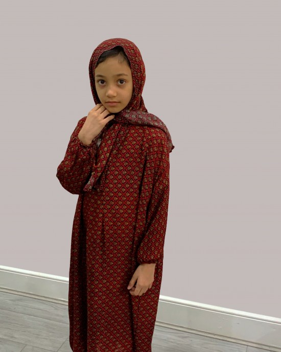 Red Trelis Cotton Prayer Dress - Childrens Prayer Dresses - AME033