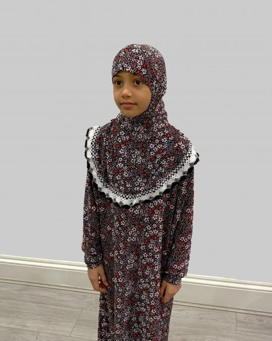 Red And White Daisies Kids Prayer Dress - Childrens Prayer Dresses - AME024