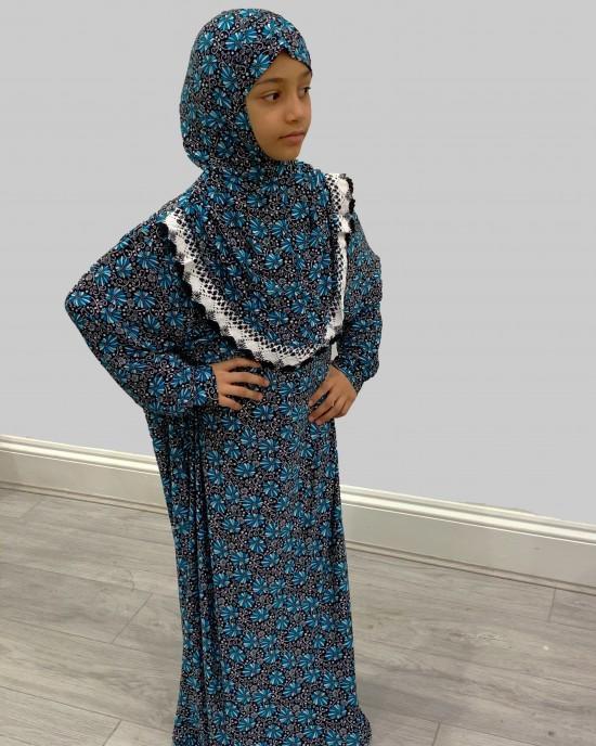 Turquoise Floral Kids Prayer Dress - Childrens Prayer Dresses - AME007