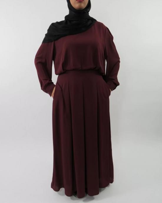 Amani's Chiffon Burgundy Long Sleeve Maxi Dress with Pleats and Pockets Style UK