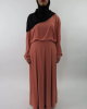 Amani's Chiffon Coral Long Sleeve Maxi Dress with Pleats and Pockets Style UK